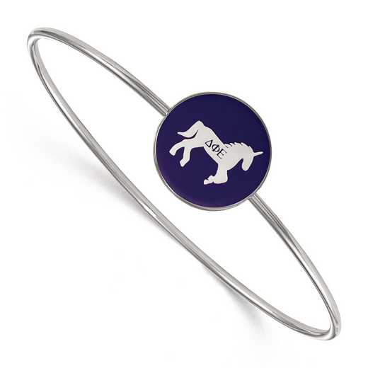 SS049DPH-8: StrlngSlvr LogoArt Delta Phi Epsilon Enameled Slip-on Bangle