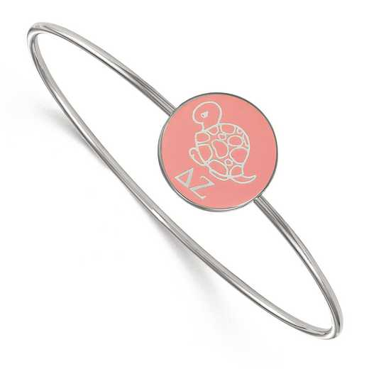 SS049DZ-7: StrlngSlvr LogoArt Delta Zeta Enameled Slip-on Bangle