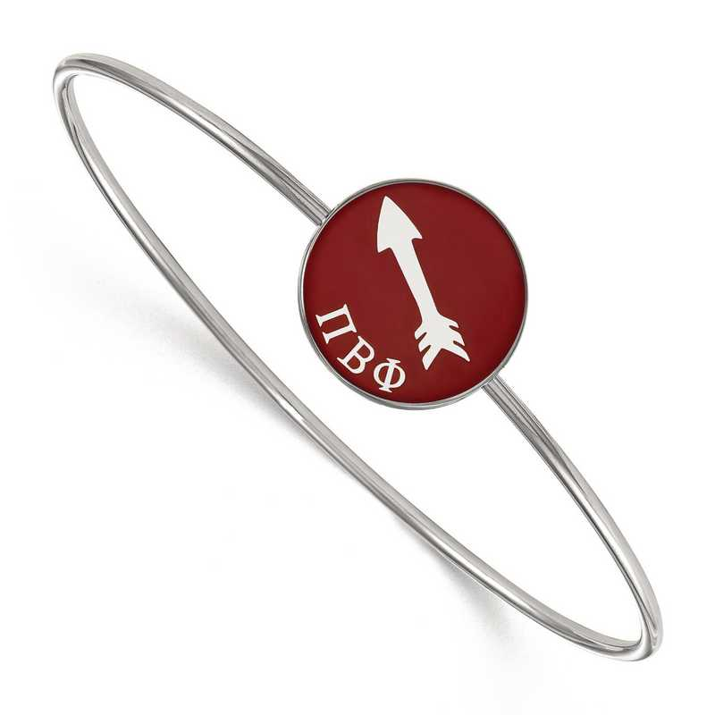 SS049PBP-7: StrlngSlvr LogoArt Pi Beta Phi Enameled Slip-on Bangle