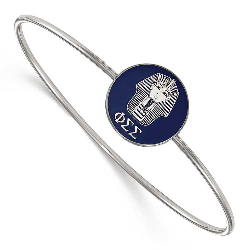 SS049PSS-8: StrlngSlvr LogoArt Phi Sigma Sigma Enameled Slip-on Bangle