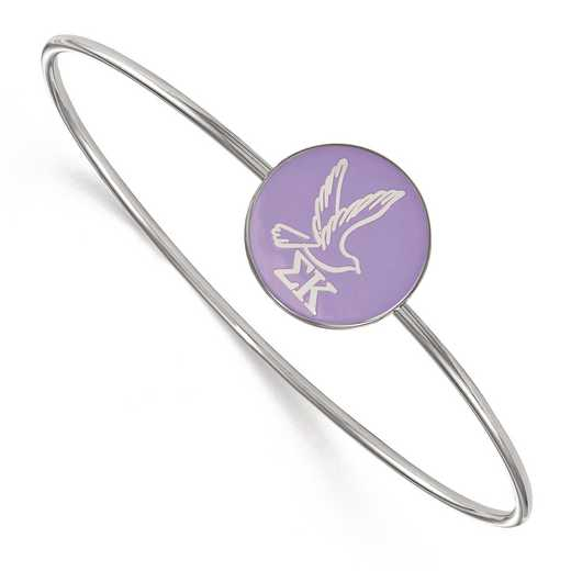 SS049SKP-8: StrlngSlvr LogoArt Sigma Kappa Enameled Slip-on Bangle