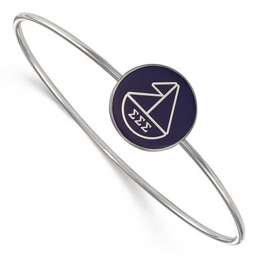 SS049SSS-8: StrlngSlvr LogoArt Sigma Sigma Sigma Enameled Slip-on Bangle