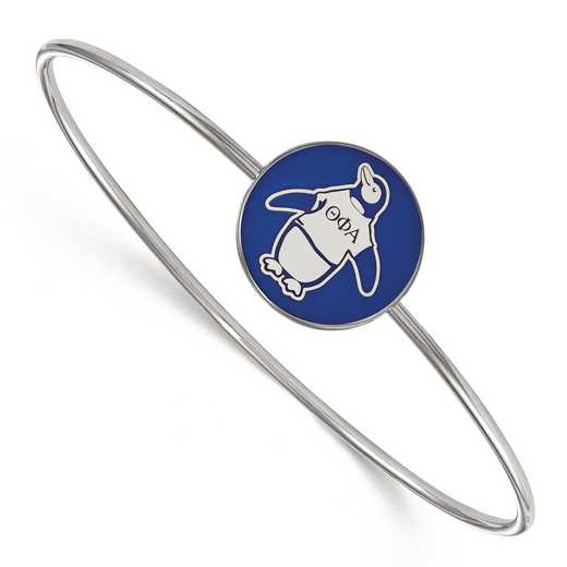 SS049TPA-7: StrlngSlvr LogoArt Theta Phi Alpha Enameled Slip-on Bangle