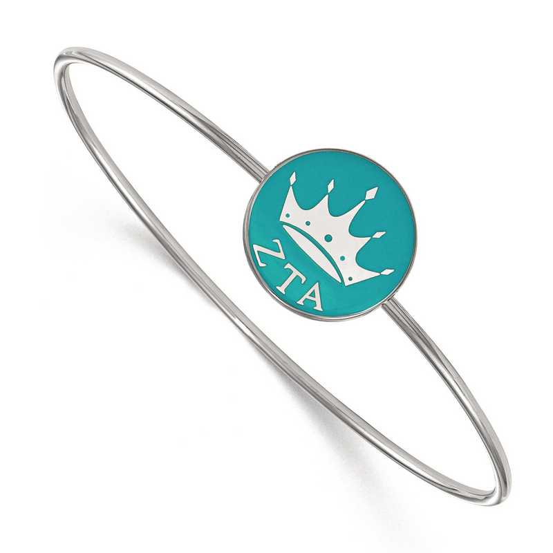 SS049ZTA-7: StrlngSlvr LogoArt Zeta Tau Alpha Enameled Slip-on Bangle