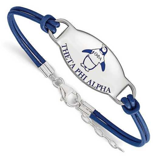 SS018TPA-7: SS. Rh-plated LogoArt Theta Phi Alpha Enml Leather Bracelet