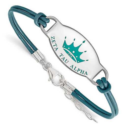 SS018ZTA-7: SS. Rh-p LogoArt Zeta Tau Alpha Enml Oval Leather Bracelet