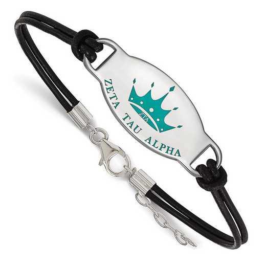 SS018ZTA-BK-7: SS Rh-p LogoArt Zeta Tau Alpha Enml Black Leather Bracelet