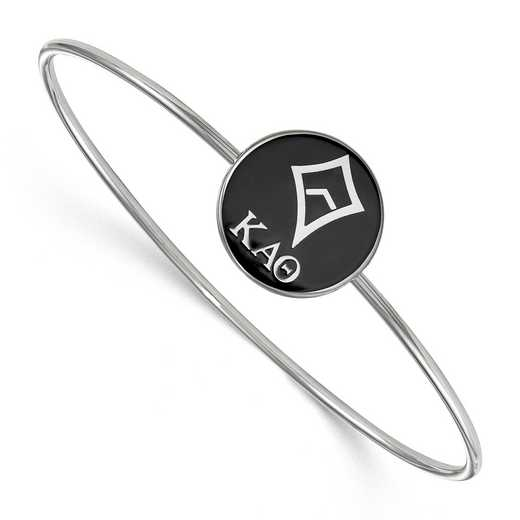 SS049KAT-7: StrlngSlvr LogoArt Kappa Alpha Theta Enameled Slip-on Bangle