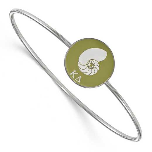 SS049KD-7: StrlngSlvr LogoArt Kappa Delta Enameled Slip-on Bangle