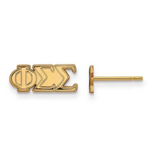 GP005PSS: SS w/GP LogoArt Phi Sigma Sigma XS Post Earrings