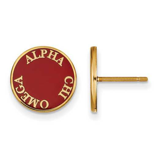 GP019ACO: SS w/GP LogoArt Alpha Chi Omega Enameled Post Earrings
