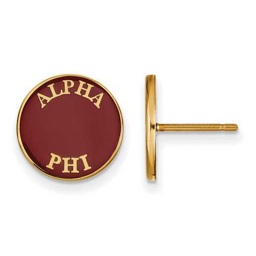 GP019APH: SS w/GP LogoArt Alpha Phi Enameled Post Earrings