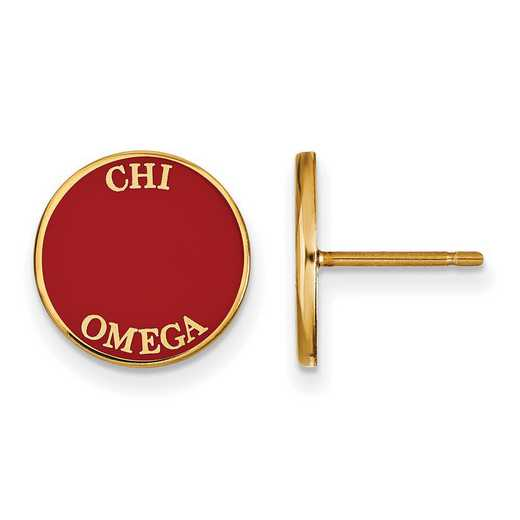 GP019CHO: SS w/GP LogoArt Chi Omega Enameled Post Earrings