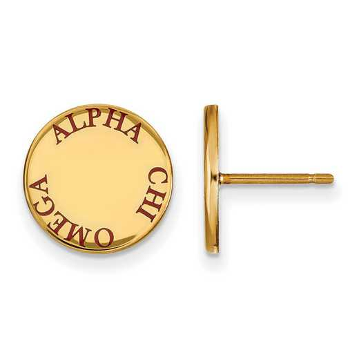GP020ACO: SS w/GP LogoArt Alpha Chi Omega Enameled Post Earrings