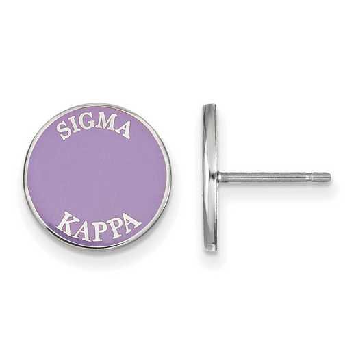 SS019SKP: SS Rh-plated LogoArt Sigma Kappa Enameled Post Earrings