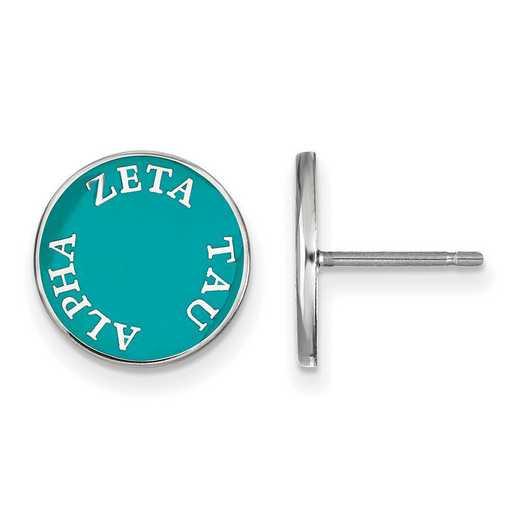 SS019ZTA: SS Rh-plated LogoArt Zeta Tau Alpha Enameled Post Earrings