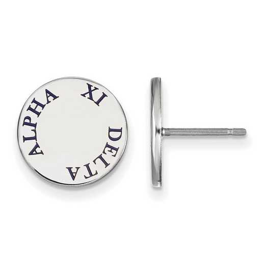 SS020AXD: SS Rh-plated LogoArt Alpha Xi Delta Enameled Post Earrings