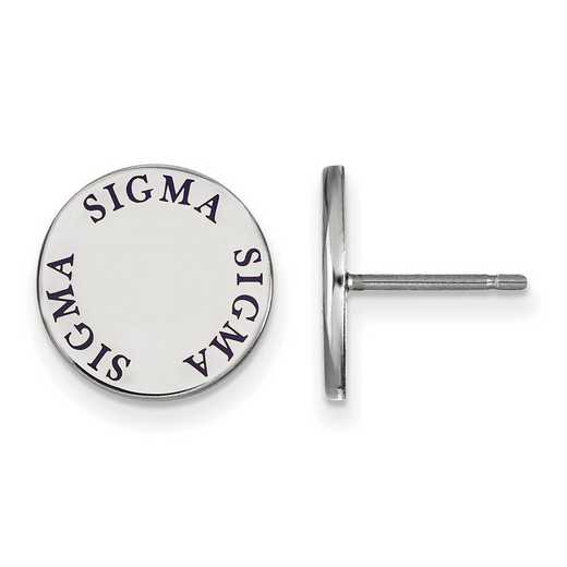 SS020SSS: SS. Rh-plated LogoArt Sigma Sigma Sigma Enamel Post Earrings