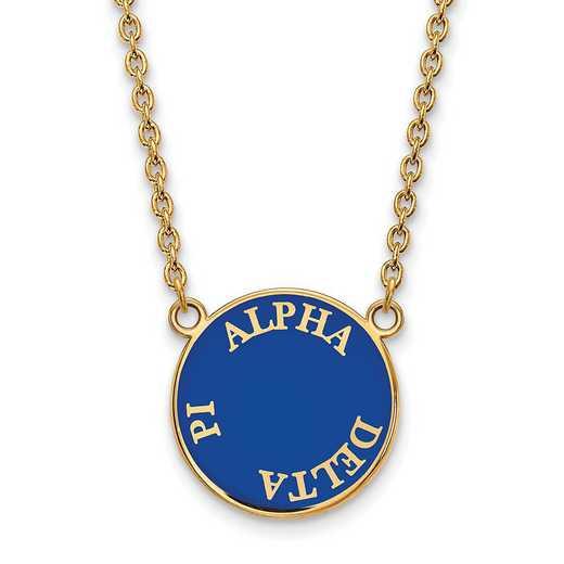 GP013ADP-18: SS w/GP LogoArt Alpha Delta Pi Large Enamel Pend w/Necklace