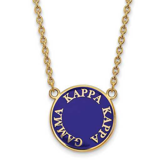 GP013KKG-18: SS w/GP LogoArt Kappa Kappa Gamma Large Enl Pend w/Necklace