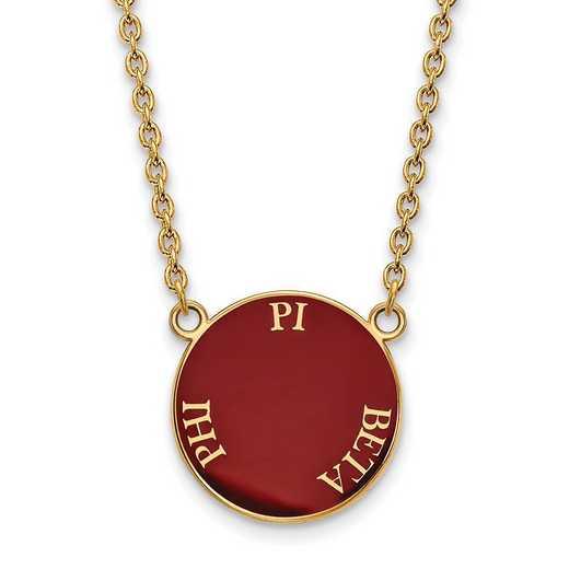 GP013PBP-18: SS w/GP LogoArt Pi Beta Phi Large Enml Pend w/Necklace