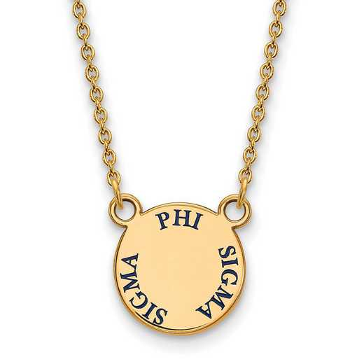 GP014PSS-18: SS w/GP LogoArt Phi Sigma Sigma Sm Enamel Pendant w/Necklace