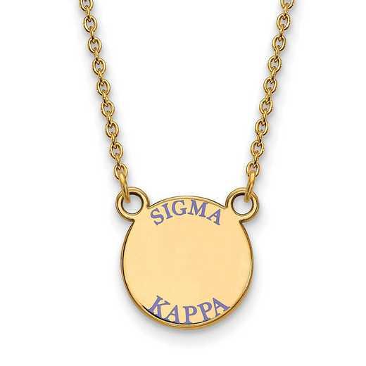 GP014SKP-18: Sterling Silver w/GP LogoArt Sigma Kappa Sm Enml Pend w/Neck