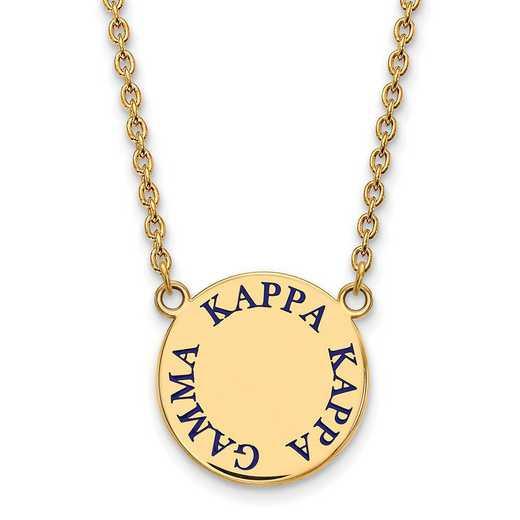 GP015KKG-18: SS w/GP LogoArt Kappa Kappa Gamma Large Enl Pend w/Necklace