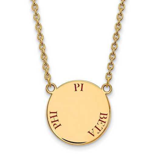 GP015PBP-18: SS w/GP LogoArt Pi Beta Phi Large Enml Pend w/Necklace
