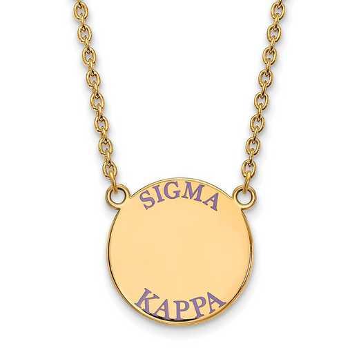 GP015SKP-18: SS w/GP LogoArt Sigma Kappa Large Enamel Pendant w/Necklace