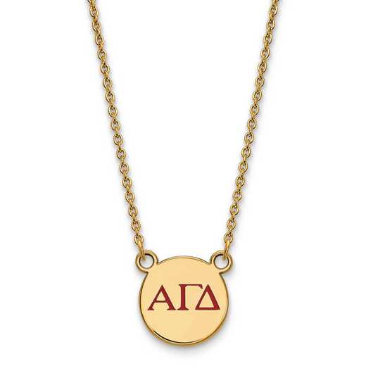 GP027AGD-18: SS w/GP LogoArt Alpha Gamma Delta SMall Enl Pend w/Necklace
