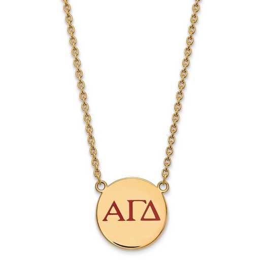 GP028AGD-18: SS w/GP LogoArt Alpha Gamma Delta Large Enl Pend w/Necklace