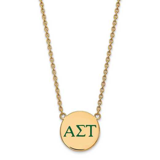 GP028ALS-18: SS w/GP LogoArt Alpha Sigma Tau Large Enl Pend w/Necklace