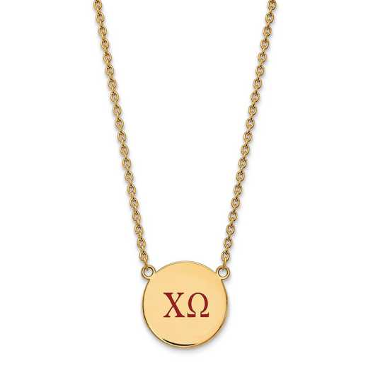 GP028CHO-18: SS w/GP LogoArt Chi Omega Large Enl Pend w/Necklace
