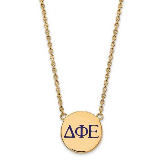 GP028DPH-18: SS w/GP LogoArt Delta Phi Epsilon Large Enl Pend w/Necklace