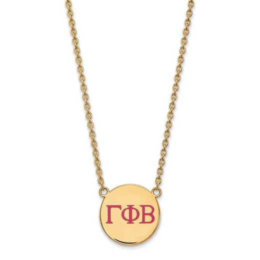 GP028GPB-18: SS w/GP LogoArt Gamma Phi Beta Large Enl Pend w/Necklace