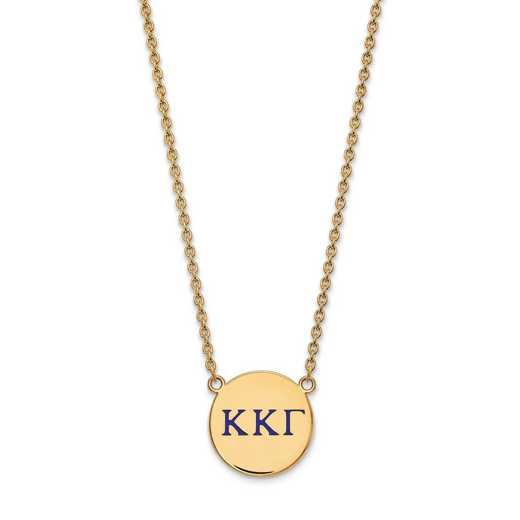 GP028KKG-18: SS w/GP LogoArt Kappa Kappa Gamma Large Enl Pend w/Necklace