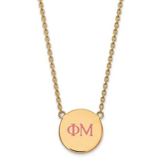 GP028PHM-18: SS w/GP LogoArt Phi Mu Large Enl Pend w/Necklace