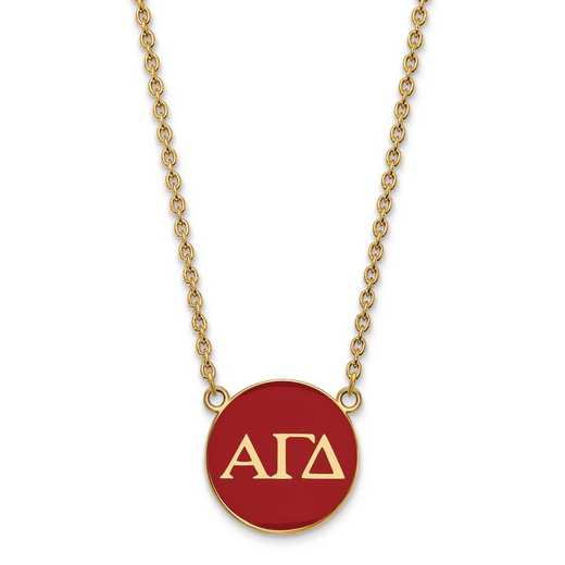GP030AGD-18: SS w/GP LogoArt Alpha Gamma Delta Large Enl Pend w/Necklace