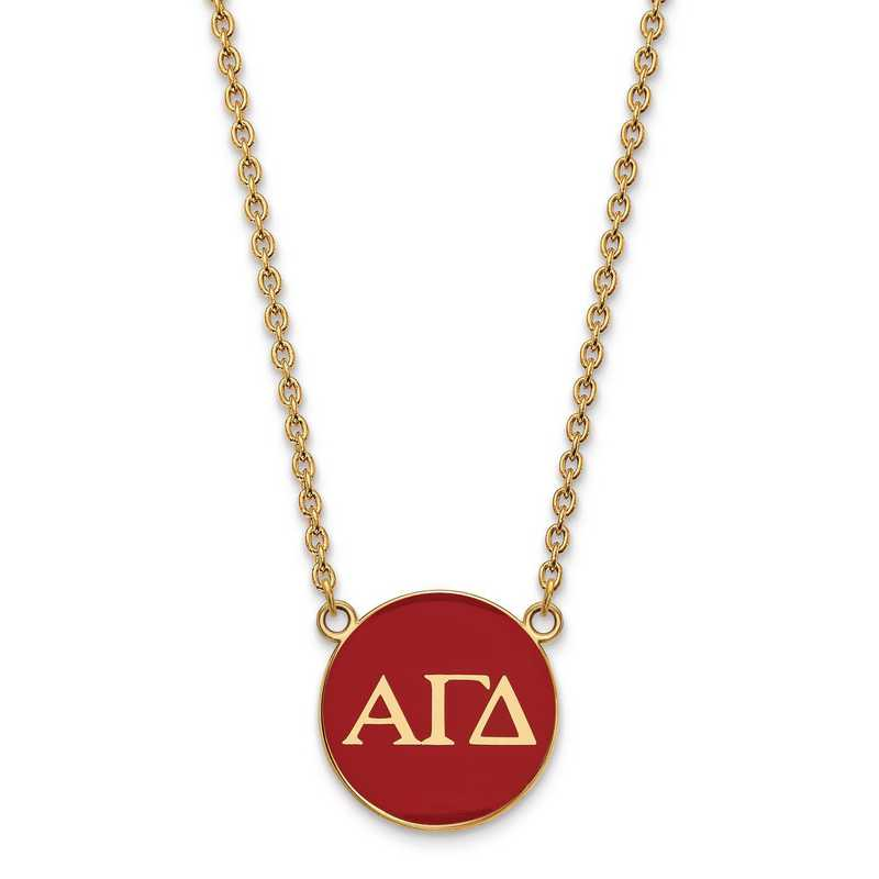 Logoart Sterling Silver Gp Alpha Gamma Delta Large Enamel Pendant Necklace