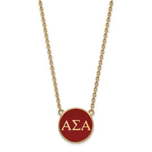 GP030ASI-18: SS w/GP LogoArt Alpha Sigma Alpha Large Enl Pend w/Necklace