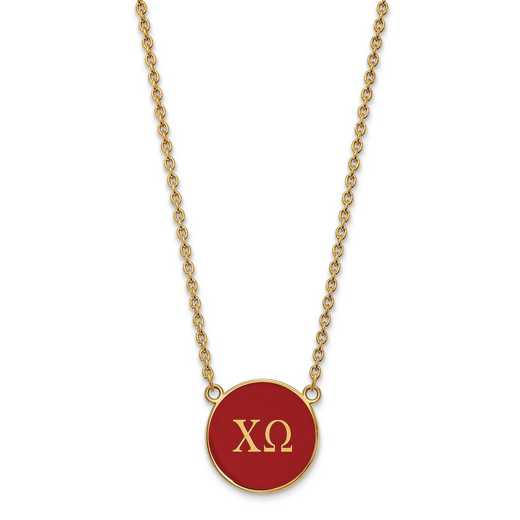 GP030CHO-18: SS w/GP LogoArt Chi Omega Large Enl Pend w/Necklace