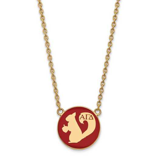 GP043AGD-18: SS w/GP LogoArt Alpha Gamma Delta Large Enl Pend w/Necklace