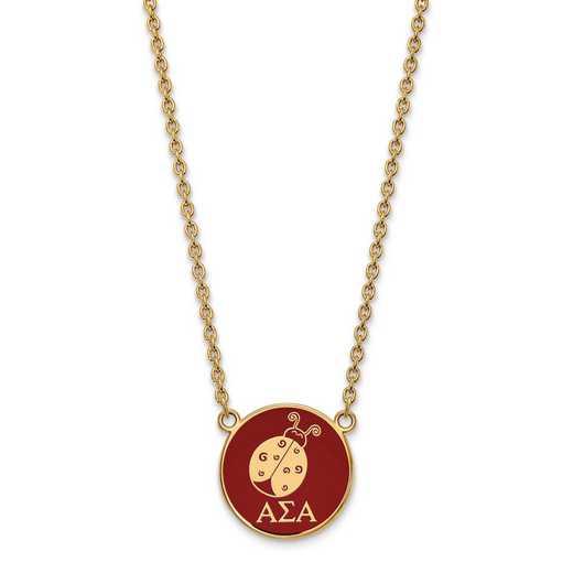 GP043ASI-18: SS w/GP LogoArt Alpha Sigma Alpha Large Enl Pend w/Necklace