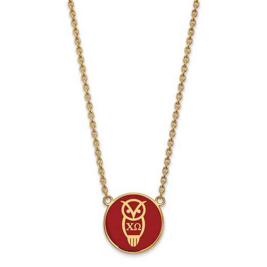 GP043CHO-18: SS w/GP LogoArt Chi Omega Large Enl Pend w/Necklace