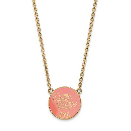 GP043DZ-18: SS w/GP LogoArt Delta Zeta Large Enl Pend w/Necklace