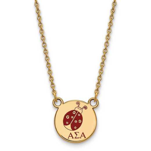GP044ASI-18: SS w/GP LogoArt Alpha Sigma Alpha Sm Enl Pend w/Necklace