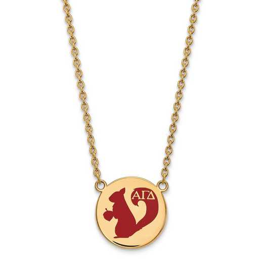 GP045AGD-18: SS w/GP LogoArt Alpha Gamma Delta Large Enl Pend w/Necklace