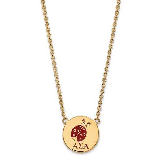 GP045ASI-18: SS w/GP LogoArt Alpha Sigma Alpha Large Enl Pend w/Necklace