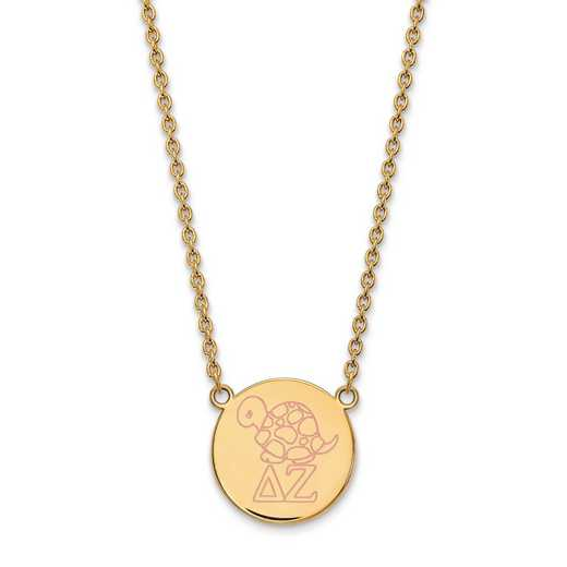 GP045DZ-18: SS w/GP LogoArt Delta Zeta Large Enl Pend w/Necklace